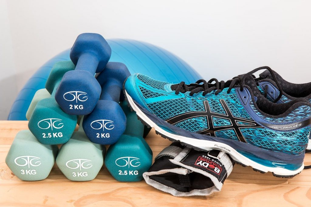dumbbells, shoes, sneakers